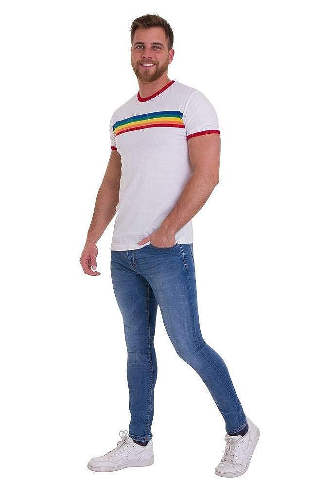 66bd74c192 Amazon.com: Run & Fly Mens 70s White Ringer Indie Retro Rainbow Striped T  Shirt: Clothing