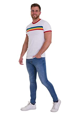 1ee45c3656 Run & Fly Mens 70s White Ringer Indie Retro Rainbow Striped T Shirt Small