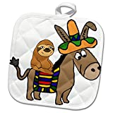 3dRose All Smiles Art Animals - Funny Cool Sloth Riding Mexican Burro with Sombrero - 8x8 Potholder (phl_273488_1)