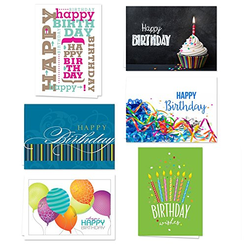 (Lively Birthday Note Card Assortment Pack - Set of 36 cards per package - 6 designs blank inside - with white envelopes)