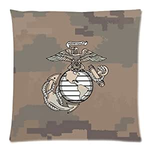 """Marines The Few The Proud USMC Logo with Camo Print Custom Zippered Pillow Cushion Case Throw Pillow Covers 18""""x18""""(two sides)"""