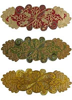Cotton Craft - Scrolling Leaves Hand Beaded Table Runner - Sizes - 13x36 and 16x54 Oblong - Colors - Burgundy-Gold, Green-Gold, Gold and Ivory-Gold - Hand made by skilled artisans - A beautiful complement to your dinner table décor - Spot Clean Only