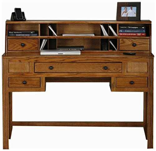 Eagle Oak Ridge Writing Desk Hutch, Medium Oak Finish