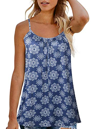 JOELLYUS Plus Size Tank Top for Women Spaghetti Strap Cami Tunic Top (Blue Flower, S)