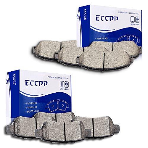 ECCPP 8pcs Full Set Ceramic Disc Brake Pad Kit for Honda Odyssey 2005 2006 2007 2008 2009 2010
