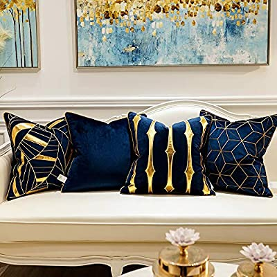 Avigers Navy Blue Gold Striped Cushion Cases Luxury European Throw Pillow Covers Decorative Pillows for Couch Living Room Bedroom Car