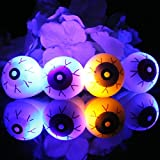4 Pcs Halloween LED Eye Ball Ring, Flashing Light Up Finger Ring, for Halloween Supplies Party Kids Toys