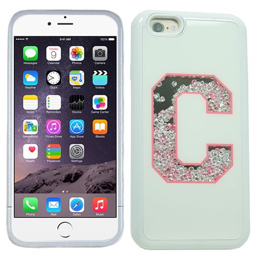 Letter C Initial Monogram Baby Pink White Bling Rhinestone Crystal Shaker Case Cover Diamond For Apple iPhone 6 PLUS with Free Pouch