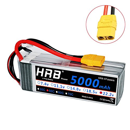 HRB 5000mAh 50C 6S 22.2v RC Lipo Battery XT90 Plug for DJI Align T-REX550/600 Airplane RC Quadcopter Airplane Helicopter Car Truck ()