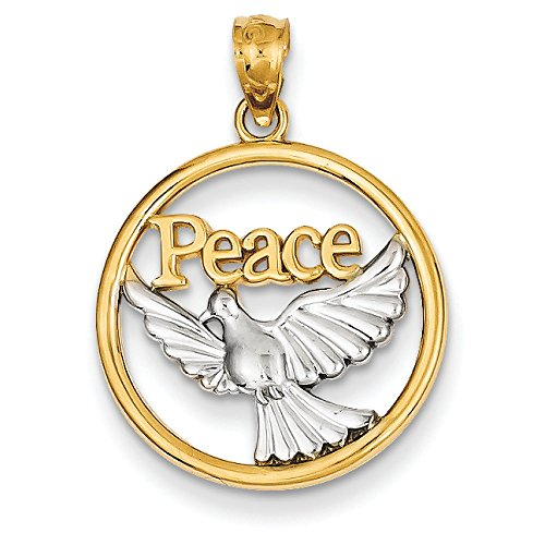 - 14K Two-Tone Gold Peace and Dove in Circle Charm Pendant