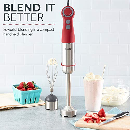 Dash Chef Series Immersion Hand Blender, 5 Speed Stick Blender with Stainless Steel Blades, Whisk Attachment and Recipe Guide – Red