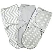 Baby Swaddle Wrap Pod - Velcro Swaddle Set - 3 Pack Soft Cotton Swaddle Blankets - Grey Small 0-3 Months