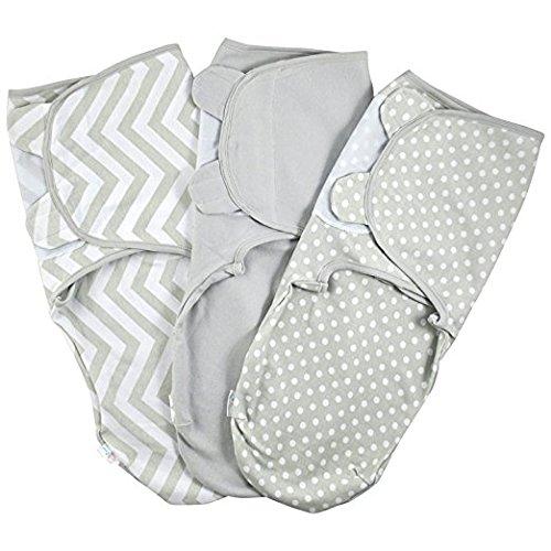 Baby Swaddle Wrap Pod Blanket - Swaddle Set - 3 Pack Soft Cotton Swaddle Blankets - Grey Large 4-6 ()