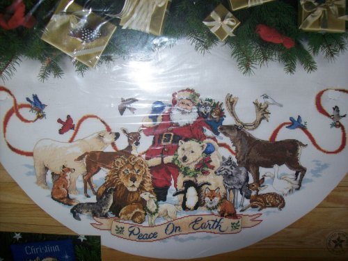 Counted Cross Stitch Christmas Tree Skirts - Santa's Wildlife Tree Skirt - Christmas - The Gold Collection Counted Cross Stitch Kit by Dimensions