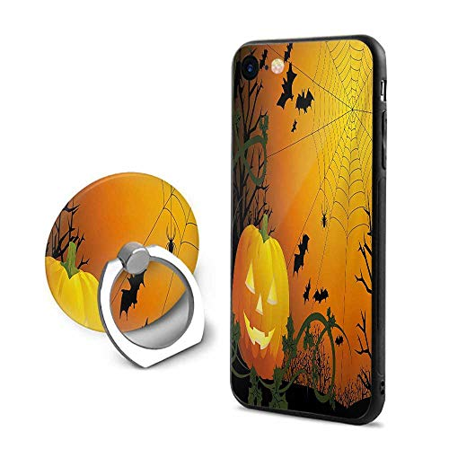 Spider Web iPhone 6 Plus/iPhone 6s Plus Cases,Halloween Themed Composition with Pumpkin Leaves Trees Web and Bats Orange Dark Green Black,Design Mobile Phone Shell Ring Bracket -
