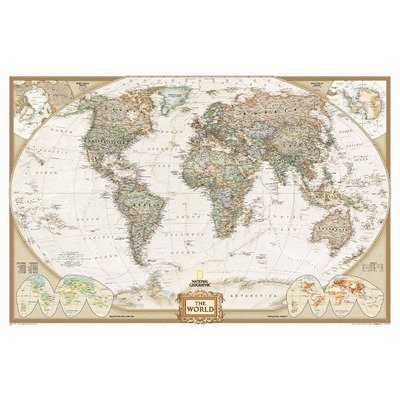 National Geographic - World Executive Map, Enlarged & Laminated Poster by National Geographic 73 x 48in (Map World Decorator)