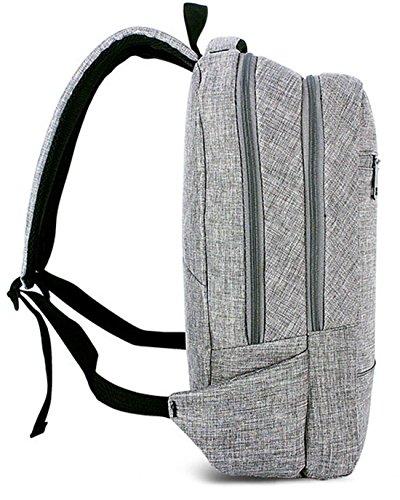 Keshi Leinwand neuer Stil Schulrucksäcke/Rucksack Damen/Mädchen Vintage Schule Rucksäcke mit Moderner Streifen für Teens Jungen Studenten Grau yQVhQGP