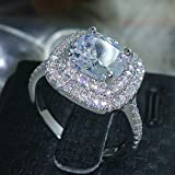 Aimys Fashion Ring Cushion Cut 4ct 5A Zircon Stone