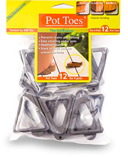 IGC Cartanna PT-12CHHT Bosmere Pot Toes, Light Gray (Pack of 12)