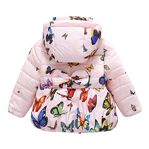 Jlong Baby Girls Winter Warm Soft Cotton Butterfly Long Sleeves Coat Jacket (3-4 Years, Zipper-Pink) by Jlong (Image #1)