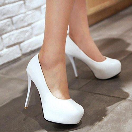 COOLCEPT Women Fashion Stiletto High Heels Pumps Slip on with Platform Extra Sizes White MxNNuV22XZ