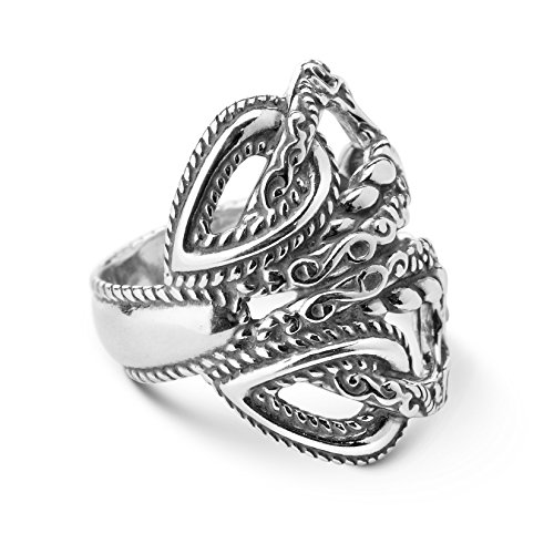 Carolyn Pollack Lasting Connections Sterling Silver Rope Filigree Loop Ring- Size 9 - Lasting Connections Collection ()