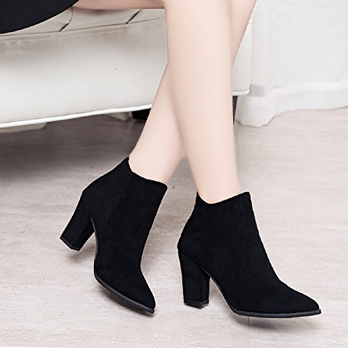 Heel Thirty Short Zipper KHSKX Black Boots New Sharp Shoes six Boots Sanding Female Martin Heel Boots Rt4wC6tq