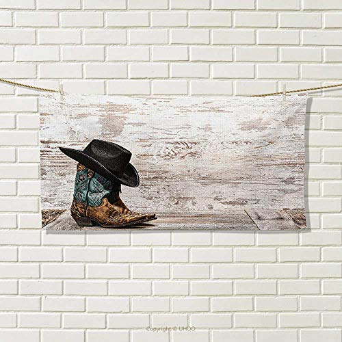 Chaneyhouse Western,Travel Towel,Traditional Rodeo Cowboy Hat and Cowgirl Boots Retro Grunge Background Art Photo,Quick-Dry Towels,Brown Black Size: W 14