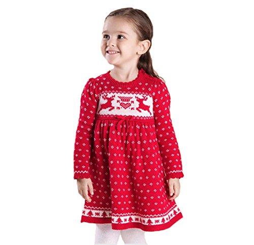 Toddler Kids Girls Christmas Dress Reindeer Snowflake Xmas Knit Sweater Dress (Red, 2-3 Years 100cm) (Snowflake Sweater Dress)