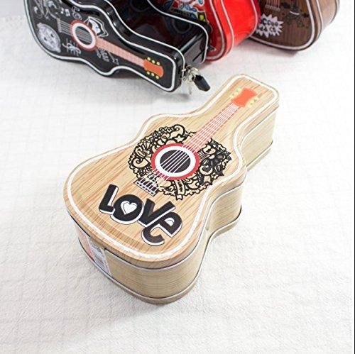 Kininder Guitar Shape Piggy Bank Tinplate Candy Jar with Lock-Apricot Color