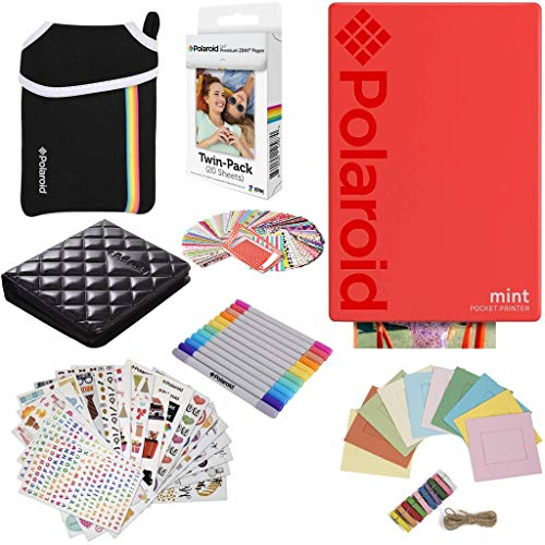 a531ab8588289 Polaroid Mint Pocket Instant Printer (Red) Gift Bundle + Paper (20 Sheets)  + Deluxe Pouch + 9 Fun Sticker Sets + Twin Tip Markers + Photo Album + ...