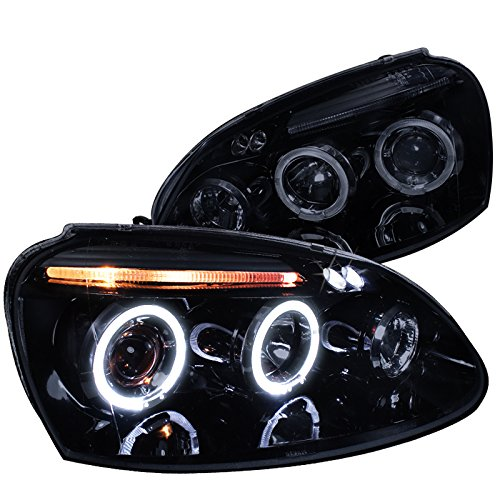 Spec-D Tuning LHP-GLF05G-TM Volkswagen Golf Rabbit Jetta Glossy Black Housing Halo Led Proj Headlights