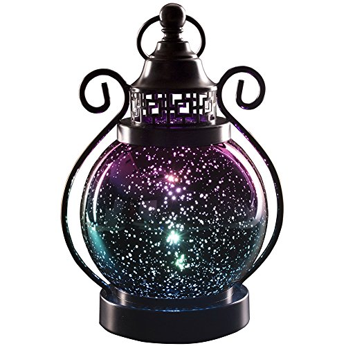 Valery Madelyn Decorative Christmas Candle Lanterns, Mercury Glass Sphere Light, Timer Function, LED Tabletop Lamps, Battery Operated Hanging Lantern for Indoor and Outdoor (Glass Lantern Green)