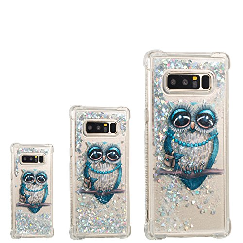 Galaxy Note 8 Case, YUTTY 3D Glitter Liquid Sparkle Floating Luxury Bling Quicksand Case Fullbody Shockproof Drop-Proof Protective Soft TPU Cover for Samsung Galaxy Note 8 (4 Spigen Flip Case Note)