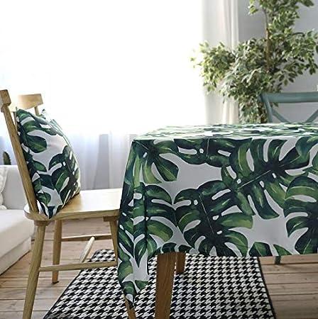 AHELUZHB Mantel Mantel Hojas Verdes Manteles rectangulares Algodón poliéster Cubierta de Tabla Impermeable Hojas Verdes Modernas Paño de Mesa Rectangular 100 * 140 cm Verde: Amazon.es: Hogar