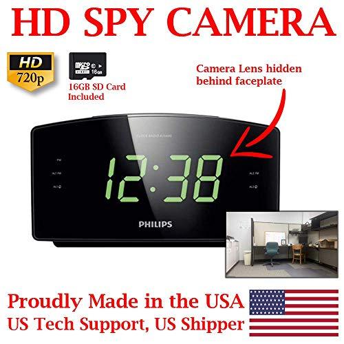 ZEUS CCTV ZCH-PC720 HD 720P Home Alarm Clock Radio HD Spy Camera Covert Surveillance Hidden Nanny Camera Spy Gadget (SD Card Model/NO WI-FI)