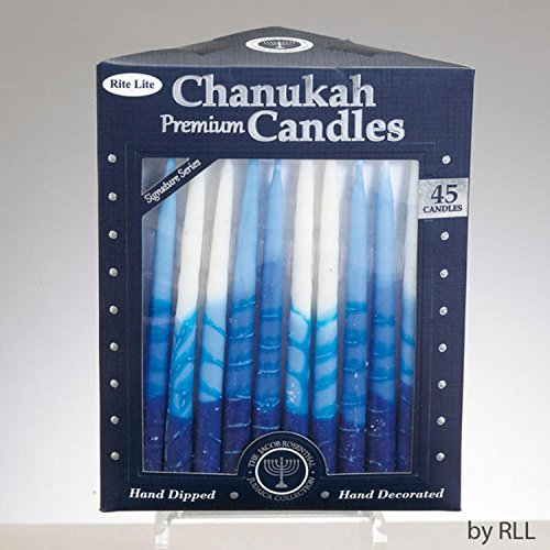 Rite Lite Club Pack of 45 Signature Series Blue and White Chanukah Premium Hand Dipped Candles 5
