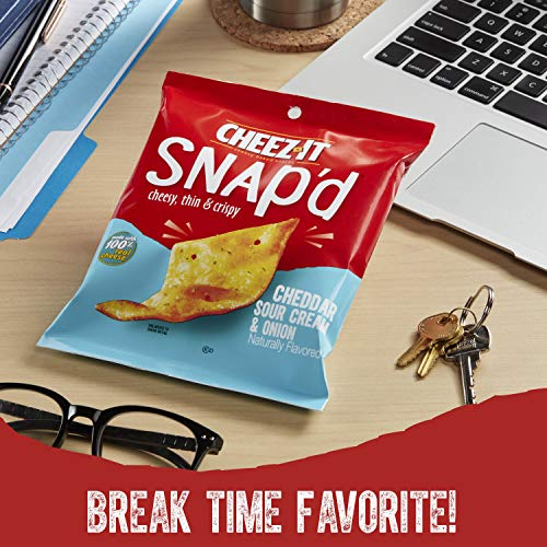 Cheez-It Snap'd, Cheesy Baked Snacks, Cheddar Sour Cream and Onion, 3.6 Ounce (Pack of 6)