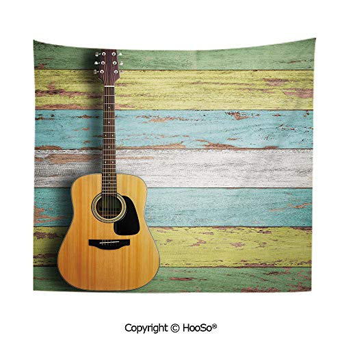 Durable Washable and Reusable Tapestry Wall Hanging Carpet 59x51in,Acoustic Guitar on Colorful Painted Aged Wooden Planks Rustic Country Decor,Multicolor Comfy and No Strange Odor Home Decor