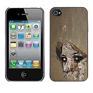 For Apple iPhone 4 / iPhone 4S / 4S Case , Meaning Woman Look Eyes Wonder - Diseño Patrón Teléfono Caso Cubierta Case Bumper Duro Protección Case Cover Funda