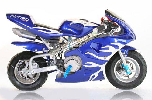 Pocketbike PS77 49cc, Kinderbike, Rennbike, Dirtbike, Mnibike, Blau-Weiß Flamme
