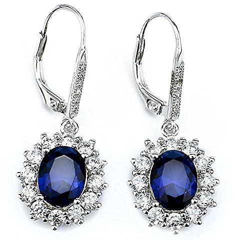 Sterling Silver Earrings Snowflake Flower Blue Sapphire & White Cz Leverback Dangle Earrings for (Sterling Snowflake Earrings)