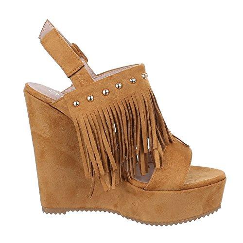 Ital-Design Damen Schuhe, XY1900, Sandaletten Keilabsatz Plateau Pumps Plateau Keilabsatz Camel