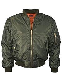 Girls Boys Kids Plain MA1 US Air Pilot Zip Up Bomber Biker Padded Jacket Coat