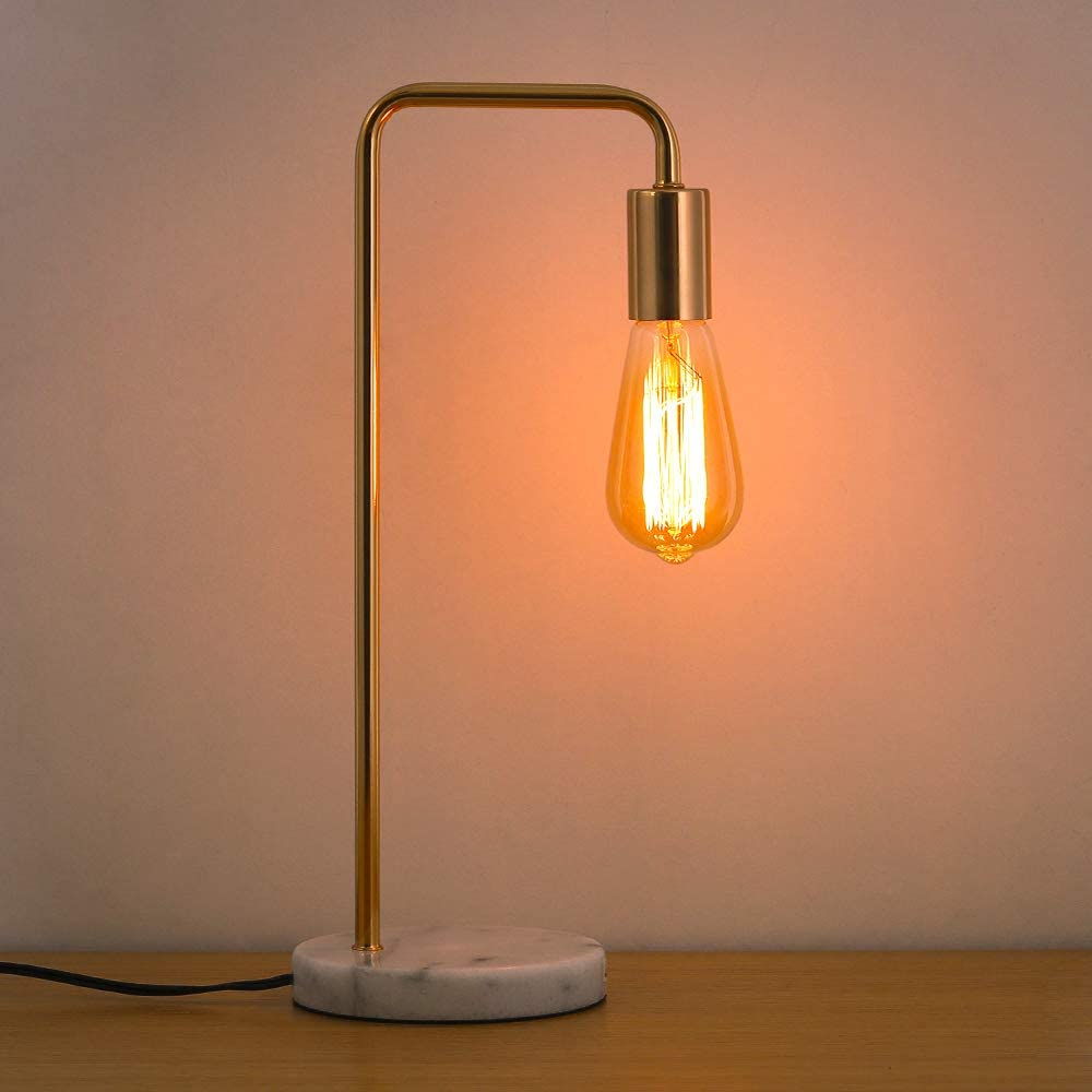 HAITRAL Modern Desk Lamp – Simple Vintage Table Lamp with Marble Base and Metal Frame Stylish Office Task Lamps for Bedroom, Living Room, College Dorm Without Bulbs – Gold HT-TH38-21