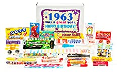 ULTIMATE COLLECTION OF CANDY celebrating someone born in 1963. Opening our gift box immediately transports you back to the early times when these famous brands were king. Put your old Beatles record on, open a few of your candy favorit...