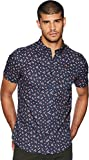 Ben Sherman Men's Short Sleeve Palm Tree Print Shirt Blue Medium