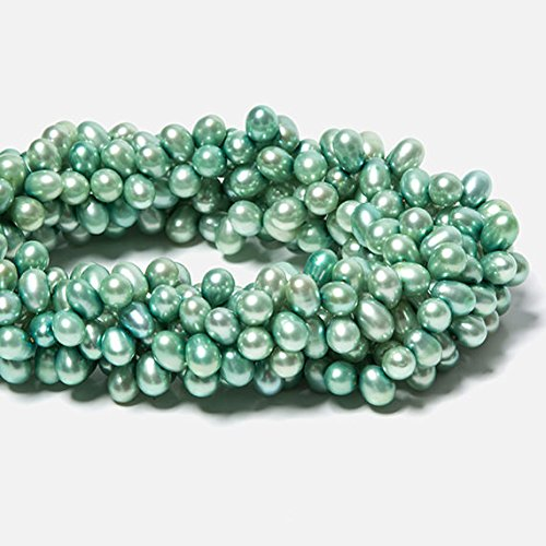 6x5-8x6mm Mint Green Top Drilled Oval Freshwater Pearls 16 inch 84 pieces - Mint Green Freshwater Pearl