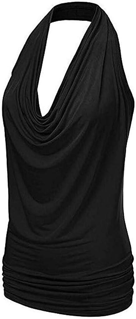 Topgrowth Canotta Donna Shirt Collo Ad Anello Camicetta Senza Schienale Maglietta Senza Maniche Halter Drape Tank Top Casual Maglietta