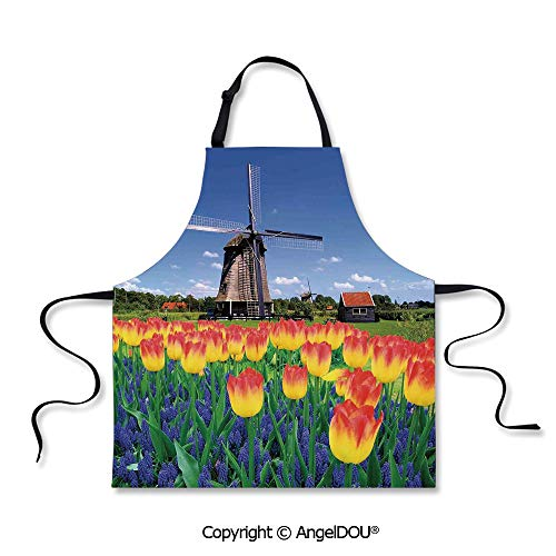 SCOXIXI Durable Polyester Waterproof Apron Tulip Blooms with Classic Dutch Windmill Netherlands Countryside Spring Picture for Cooking Baking Gardening. ()